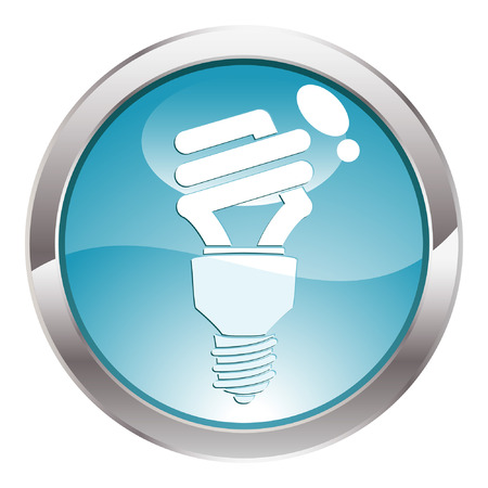 Three Dimensional circle button with energy-saving light bulb icon, vector illustration
