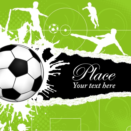 Soccer Ball on Grunge Background with Silhouettes Football Players, poster template, illustration