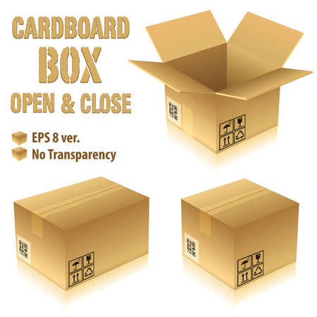 Open and Closed Cardboard Boxes with Icons, vector illustration