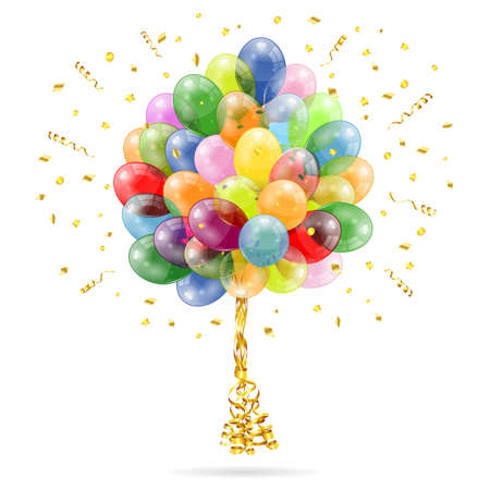 3D Transparent Birthday Balloons with Streamer and Confetti, isolated on white, easy change color