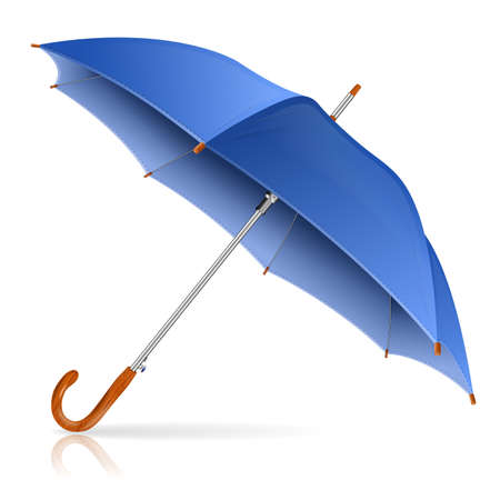 High Detailed Blue Umbrella, isolated on white background, vector illustration