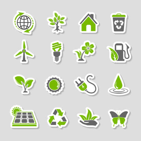Collect Environment Icons Sticker Set with Tree, Leaf, Light Bulb, Recycling Symbol. Vector in two colours.