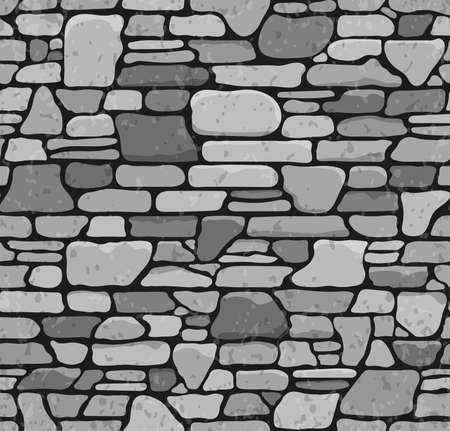 . Seamless Grunge Stone Brick Wall Texture  Vector Illustration