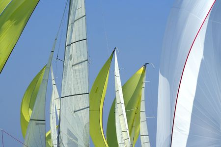 Sailing in Good Wind / sails background / spinnakers