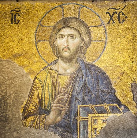 Mosaic of Jesus Christ found in the old church of Hagia Sophia in Istanbul, Turkey.