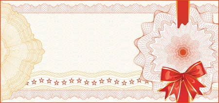 Guilloche Background for Gift Certificate, Voucher with  Red Bow / elements are in layers for easy editing