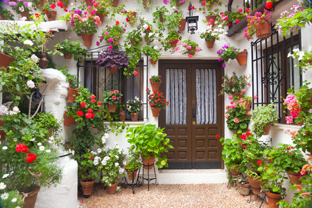 Flowers Decoration of Vintage Courtyard, typical house in Cordoba - Spain, European travel