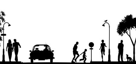 Editable vector silhouette of a busy street with all elements as separate objects