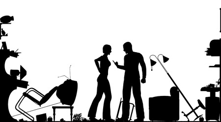Foreground silhouette of a couple having a serous domestic argument in a living room with all elements as separate editable objects