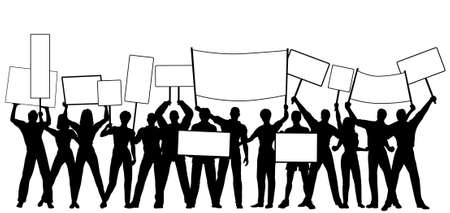 Editable vector silhouettes of people holding placards or signs with all people and signs as separate objects