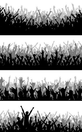 Set of editable vector silhouettes of cheering crowds