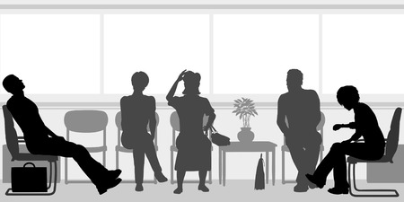 Editable silhouettes of people sitting in a waiting room