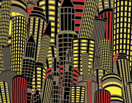 Editable illustration of tall city buildings at night