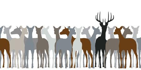 Editable silhouette of a herd of deer