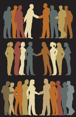 Three sets of colorful editable vector silhouettes of business groups meeting