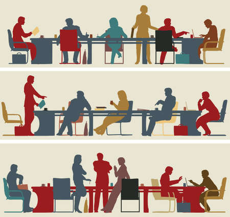 Set of three editable vector foreground silhouettes of colorful business meetings