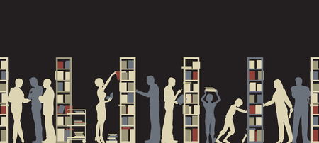 Editable silhouette of people in a library