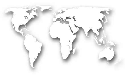 a world map with drop shadow made using a gradient mesh
