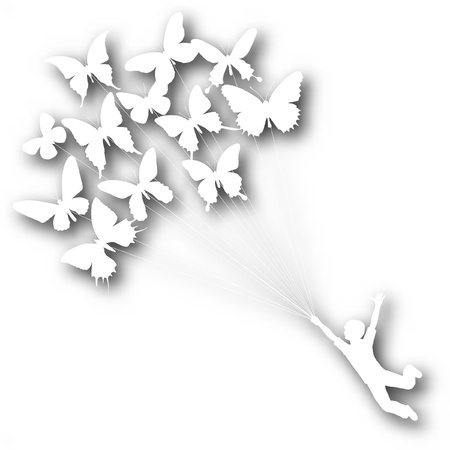 Vector cutout silhouette of a boy carried by flying butterflies with background shadow made using a gradient mesh