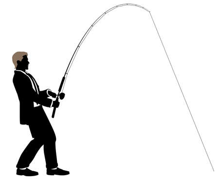 Editable illustration of a businessman fishing