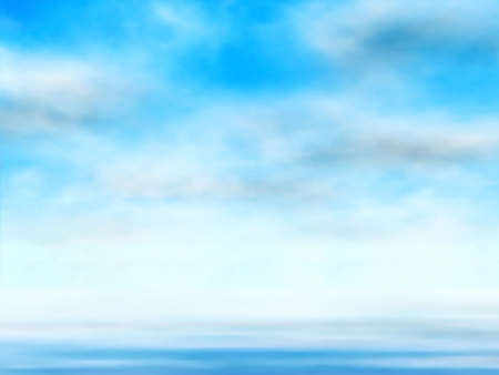 Editable vector illustration of clouds in a blue sky over water made using a gradient mesh