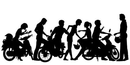 Editable vector silhouettes of a young motorcycle gang with all people and scooters as separate objects
