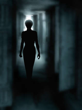 Editable vector illustration of a woman's silhouette walking down a dark passage made using a gradient mesh