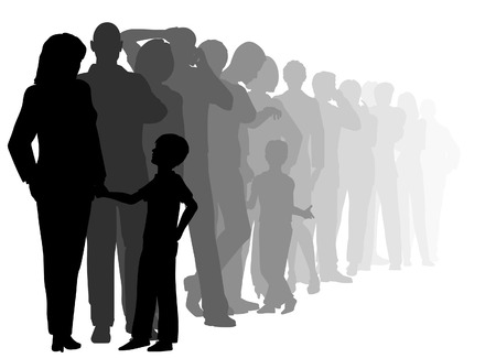 editable cutout illustration of a long queue of people waiting patiently with all figures as separate objects
