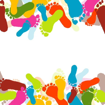 Abstract background, prints of foots of the child