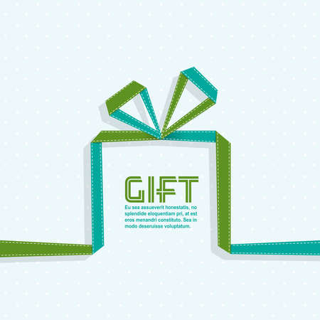 Gift in the style of origami ribbon, vector illustration