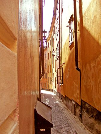 old street in the gamlastan area of stockholm