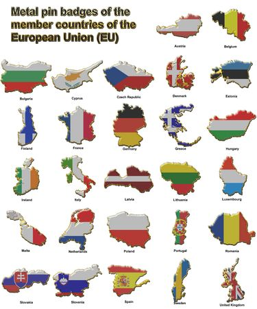 Metal pin badges in the shape of flag maps of all the member countries of the european union
