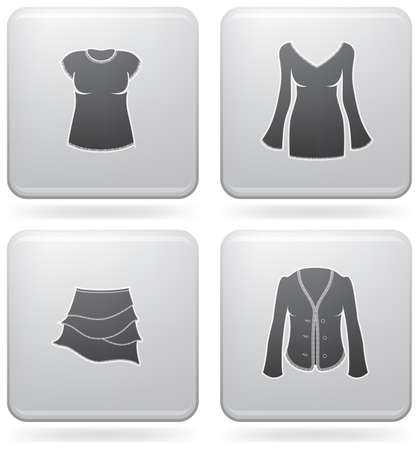 Man's Clothing theme icons set covering all things from a trousers to elegant dress. (part of Platinum Square 2D Icons Set)