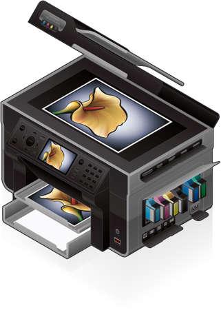 3D Isometric Office Color Photo InkJet Printer