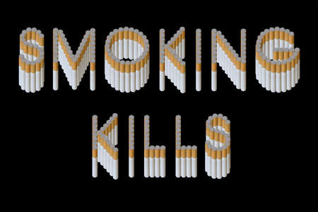 Words Smoking kills from cigarette on black background (isolated)