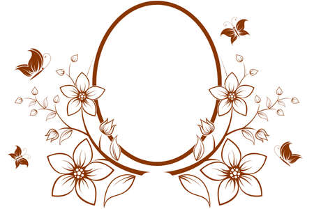 Vector flower frame with butterfly isolated on white