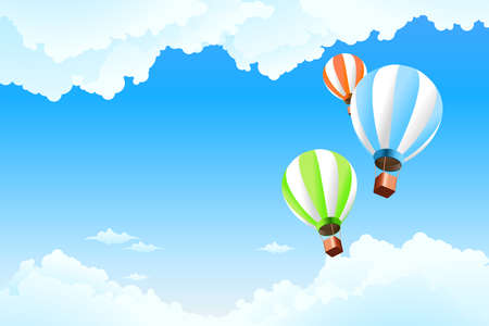 Balloon in the sky with clouds for Your design