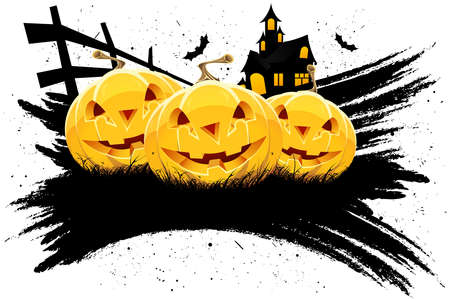 Grungy Halloween background with pumpkins  bats and house isolated on white