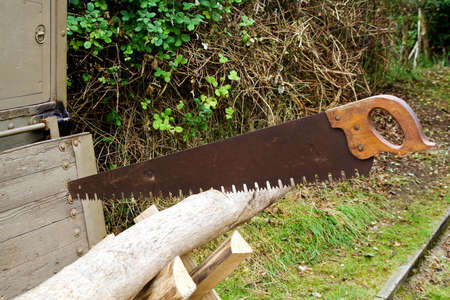 Old handsaw set in a log of wood on a saw-bench