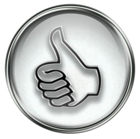thumb up icon grey, approval Hand Gesture, isolated on white background.