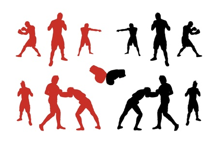 Silhouettes of boxers.