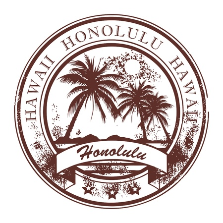 Illustration pour Grunge rubber stamp with palms and the word Honolulu, Havaii inside - image libre de droit