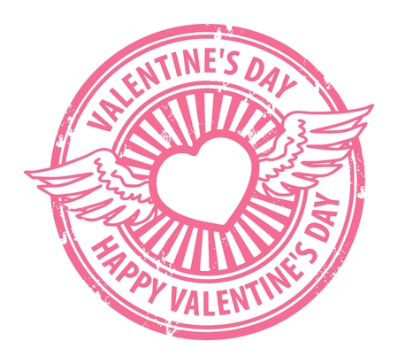 Grunge rubber stamp with heart, wings and the text Happy Valentine s Day written inside