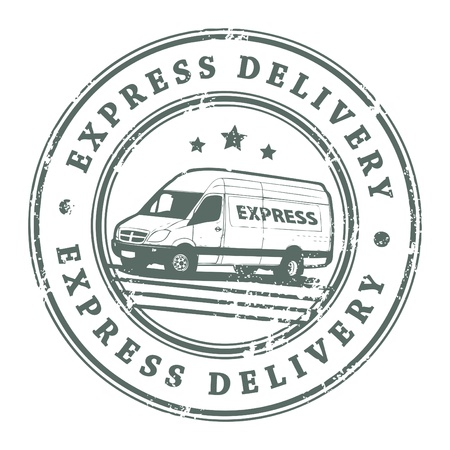 Illustration pour Grunge rubber stamp with a delivery car in the middle and the text express delivery written inside the stamp - image libre de droit