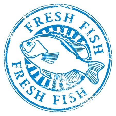 Vektor für Grunge rubber stamp with fish shape and the word Fresh fish written inside - Lizenzfreies Bild