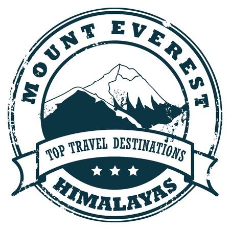 Illustration pour Grunge rubber stamp with the Mount Everest - image libre de droit