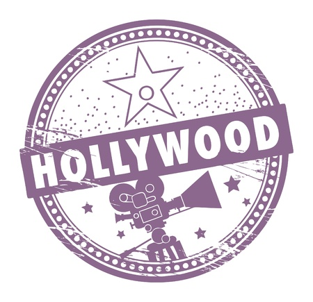 Illustration pour Grunge rubber stamp with the name of Hollywood written inside the stamp - image libre de droit