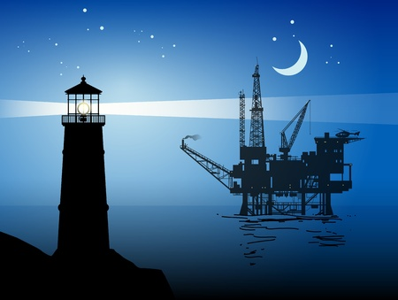Lighthouse and Sea Oil Rig Drilling Platform
