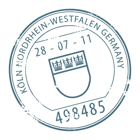 Grunge rubber stamp with the name of Koln, Germany written inside the stamp