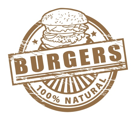 Grunge rubber stamp, with the text burgers written inside